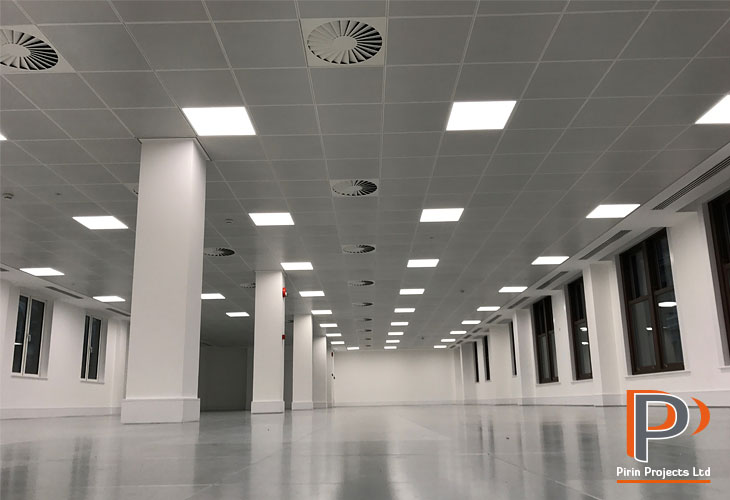 Suspended office ceiling installation in London