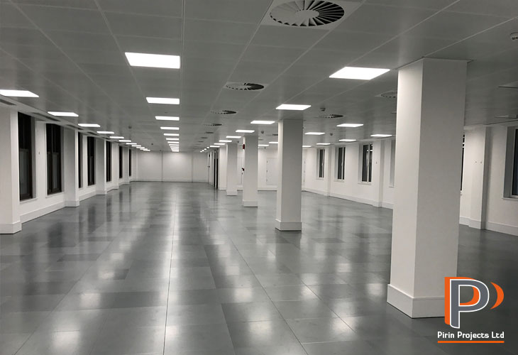 Suspended ceiling installation in London office building