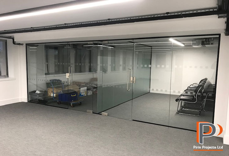 Glazed partition wall installation in London