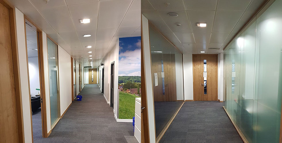 Glazed partition wall installations