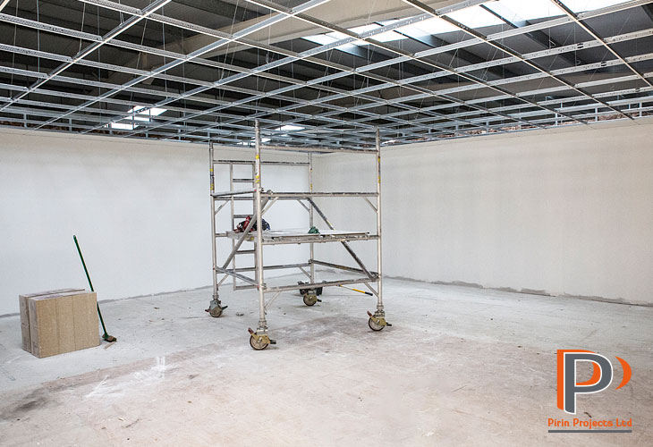 Metal framed suspended ceiling installation